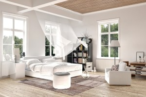 Bright white luxury rendered bedroom interior with blowing curtains on tall windows above a comfortable double bed with seating and a bookcase on a painted white wood floor.  3d Rendering